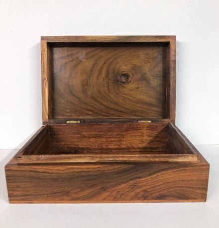 Handcrafted Smooth FInish Plain Wooden Jewellery Chest Box 23cm